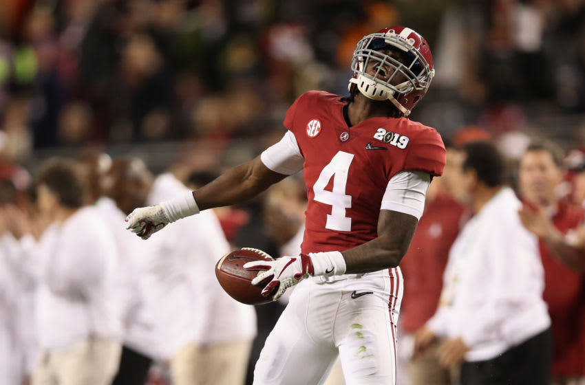 SANTA CLARA, CA - JANUARY 07: Jerry Jeudy #4 of the Alabama Crimson Tide reacts after making a first down reception against the Clemson Tigers in the CFP National Championship presented by AT&T at Levi's Stadium on January 7, 2019 in Santa Clara, California. (Photo by Christian Petersen/Getty Images)