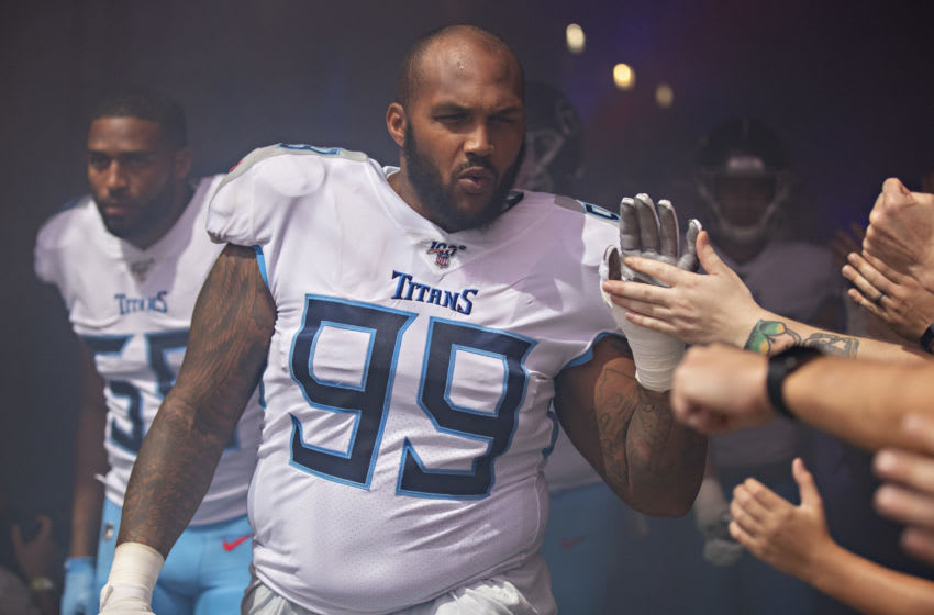NASHVILLE, TN - SEPTEMBER 15: Jurrell Casey #99 of the Tennessee Titans greets fans in the tunnel before a game against the Indianapolis Colts at Nissan Stadium on September 15, 2019 in Nashville,Tennessee. The Colts defeated the Titans 19-17. (Photo by Wesley Hitt/Getty Images)