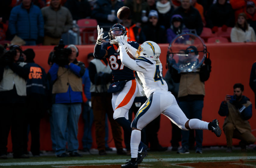 DENVER, CO - DECEMBER 1: Linebacker Kyzir White #44 of the Los Angeles Chargers defends a pass in the end zone intended for tight end Noah Fant #87 of the Denver Broncos during the first quarter at Empower Field at Mile High on December 1, 2019 in Denver, Colorado. (Photo by Justin Edmonds/Getty Images)