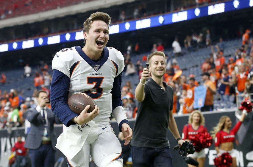 HOUSTON, TX - DECEMBER 08: Drew Lock #3 of the Denver Broncos celebrates as he heads to the locker room after the game against the Houston Texans at NRG Stadium on December 8, 2019 in Houston, Texas. (Photo by Tim Warner/Getty Images)
