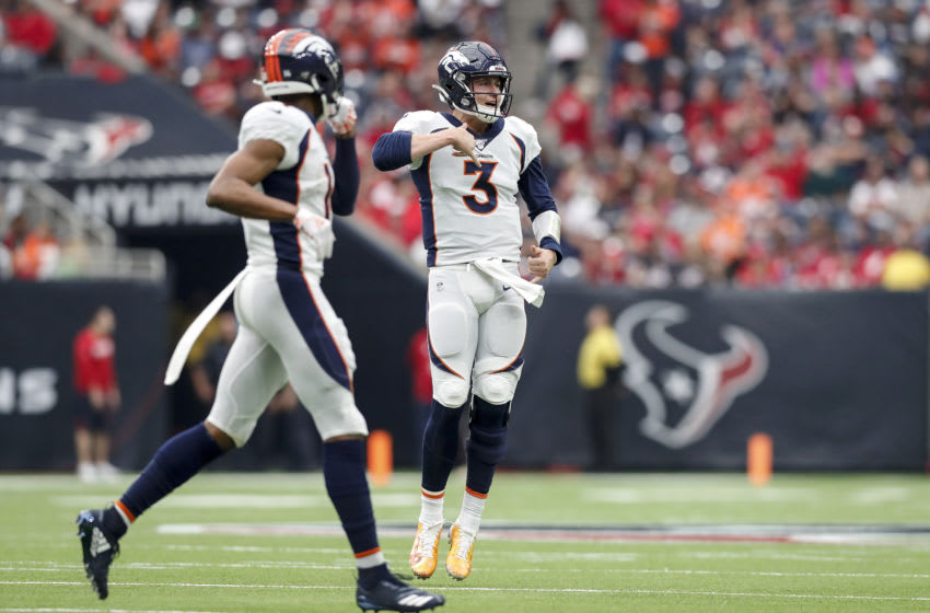 HOUSTON, TX - DECEMBER 08: Drew Lock #3 of the Denver Broncos celebrates after a touchdown pass in the second quarter against the Houston Texans at NRG Stadium on December 8, 2019 in Houston, Texas. (Photo by Tim Warner/Getty Images)