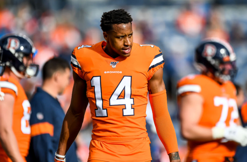 DENVER, CO - DECEMBER 22: Courtland Sutton #14 of the Denver Broncos stands on the field as he warms up before a game against the Detroit Lions at Empower Field at Mile High on December 22, 2019 in Denver, Colorado. (Photo by Dustin Bradford/Getty Images)