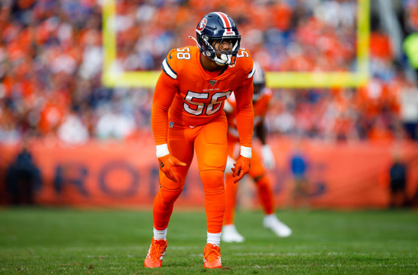 DENVER, CO - DECEMBER 22: Linebacker Von Miller #58 of the Denver Broncos lines up on the field against the Detroit Lions during the first quarter at Empower Field at Mile High on December 22, 2019 in Denver, Colorado. The Broncos defeated the Lions 27-17. (Photo by Justin Edmonds/Getty Images)