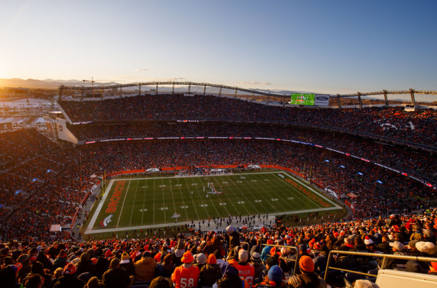 DENVER, CO - DECEMBER 29: A general view of the stadium as the Denver Broncos drive against the Oakland Raiders while the sun sets during the third quarter at Empower Field at Mile High on December 29, 2019 in Denver, Colorado. The Broncos defeated the Raiders 16-15. (Photo by Justin Edmonds/Getty Images)