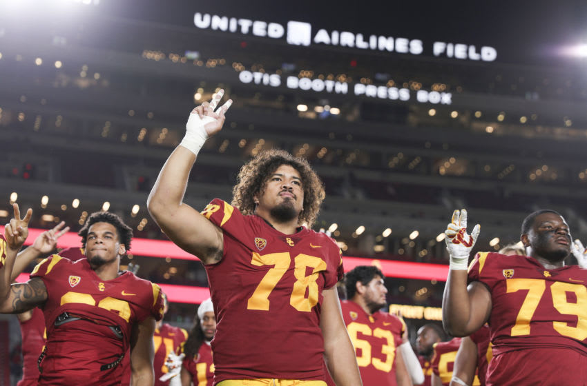 LOS ANGELES, CALIFORNIA - OCTOBER 19: Defensive lineman Jay Tufele #78 of the USC Trojans after defeating the Arizona Wildcats 41-14 at Los Angeles Memorial Coliseum on October 19, 2019 in Los Angeles, California. (Photo by Meg Oliphant/Getty Images)