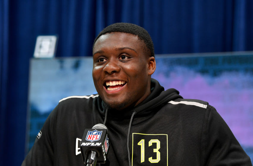 INDIANAPOLIS, INDIANA - FEBRUARY 26: Lloyd Cushenberry #OL13 of Louisiana State interviews during the second day of the 2020 NFL Scouting Combine at Lucas Oil Stadium on February 26, 2020 in Indianapolis, Indiana. (Photo by Alika Jenner/Getty Images)
