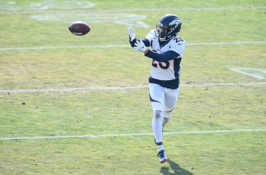ENGLEWOOD, CO - AUGUST 20: Cornerback Michael Ojemudia #23 of the Denver Broncos participates in a drill during a training session at UCHealth Training Center on August 20, 2020 in Englewood, Colorado. (Photo by Dustin Bradford/Getty Images)