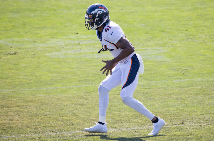 ENGLEWOOD, CO - AUGUST 17: Cornerback De'Vante Bausby #41 of the Denver Broncos runs during a training session at UCHealth Training Center on August 17, 2020 in Englewood, Colorado. (Photo by Justin Edmonds/Getty Images)