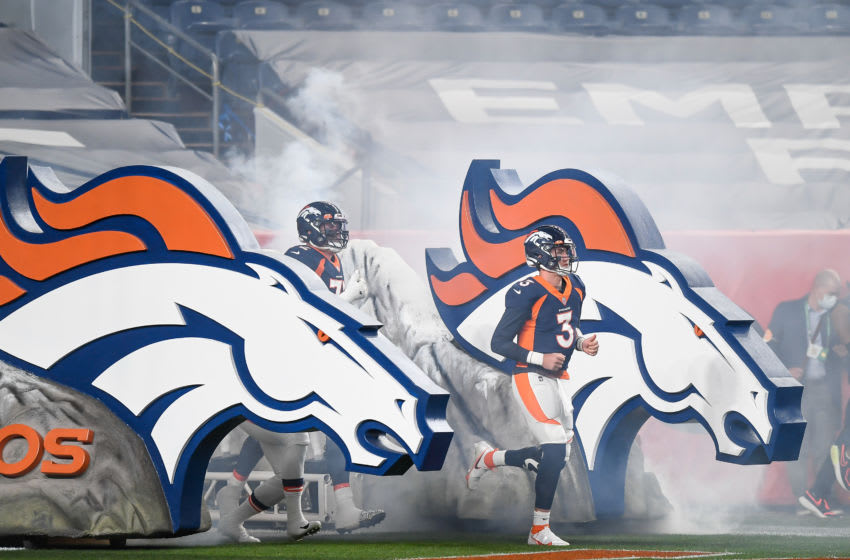DENVER, CO - SEPTEMBER 14: Drew Lock #3 of the Denver Broncos runs onto the field before a game against the Tennessee Titans at Empower Field at Mile High on September 14, 2020 in Denver, Colorado. (Photo by Dustin Bradford/Getty Images)