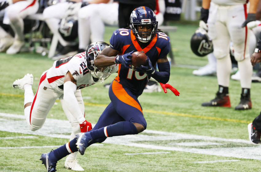 ATLANTA, GEORGIA - NOVEMBER 08: Jerry Jeudy #10 of the Denver Broncos makes a reception against Kendall Sheffield #20 of the Atlanta Falcons during the fourth quarter at Mercedes-Benz Stadium on November 08, 2020 in Atlanta, Georgia. (Photo by Kevin C. Cox/Getty Images)