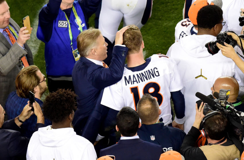 SANTA CLARA, CA - FEBRUARY 07: Denver Broncos general manager John Elway celebrates with Peyton Manning #18 of the Denver Broncos after defeating the Carolina Panthers with a score of 24 to 10 to win Super Bowl 50 at Levi's Stadium on February 7, 2016 in Santa Clara, California. (Photo by Harry How/Getty Images)