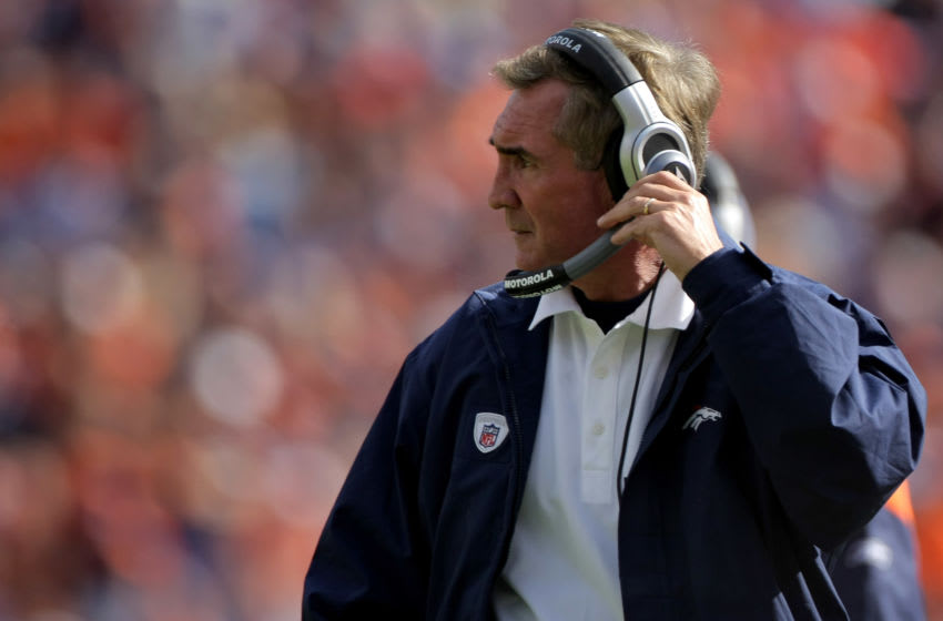 DENVER - SEPTEMBER 14: Head coach Mike Shanahan of the Denver Broncos leads his team against the San Diego Chargers during NFL action at Invesco Field at Mile High on September 14, 2008 in Denver, Colorado. The Broncos defeated the Chargers 39-38. (Photo by Doug Pensinger/Getty Images)