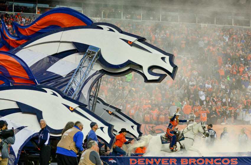 DENVER, CO - OCTOBER 15: Anne Judge rides Thunder out of the tunnel during player introductions before a game between the Denver Broncos and the New York Giants at Sports Authority Field at Mile High on October 15, 2017 in Denver, Colorado. (Photo by Dustin Bradford/Getty Images)