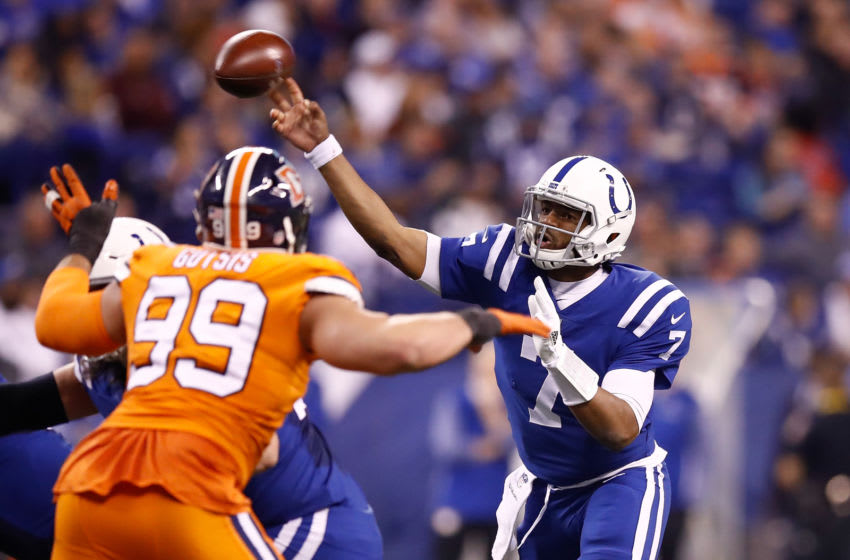 INDIANAPOLIS, IN - DECEMBER 14: Jacoby Brissett #7 of the Indianapolis Colts throws a pass against the Denver Broncos during the second half at Lucas Oil Stadium on December 14, 2017 in Indianapolis, Indiana. (Photo by Andy Lyons/Getty Images)