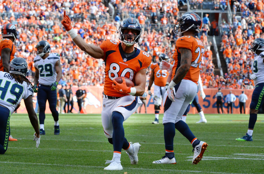 DENVER, CO - SEPTEMBER 9: Tight end Jake Butt #80 of the Denver Broncos celebrates a first down against the Seattle Seahawks at Broncos Stadium at Mile High on September 9, 2018 in {Denver, Colorado. (Photo by Bart Young/Getty Images)