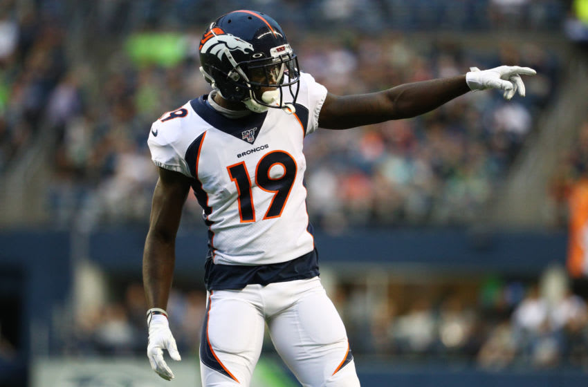SEATTLE, WASHINGTON - AUGUST 08: Fred Brown #19 of the Denver Broncos points down the field against the Seattle Seahawks in the second quarter during their preseason game at CenturyLink Field on August 08, 2019 in Seattle, Washington. (Photo by Abbie Parr/Getty Images)