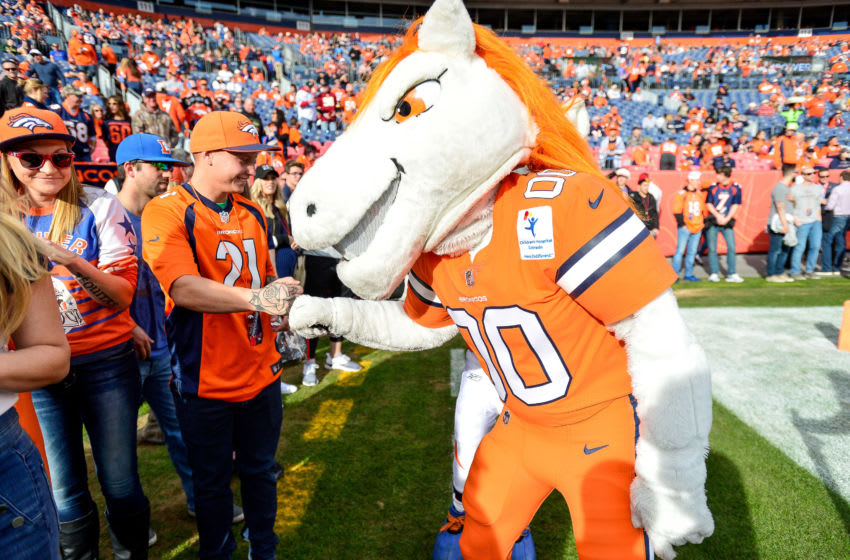 DENVER, CO - DECEMBER 22: Denver Broncos mascot Miles greets fans before a game between the Denver Broncos and the Detroit Lions at Empower Field at Mile High on December 22, 2019 in Denver, Colorado. (Photo by Dustin Bradford/Getty Images)
