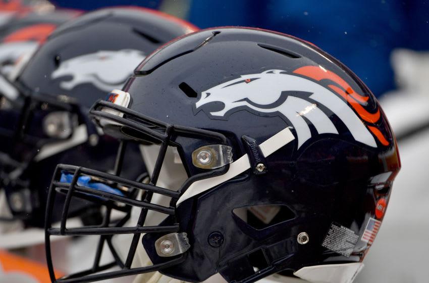 Dec 15, 2019; Kansas City, MO, USA; A general view of a Denver Broncos helmet during the game against the Kansas City Chiefs at Arrowhead Stadium. Mandatory Credit: Denny Medley-USA TODAY Sports