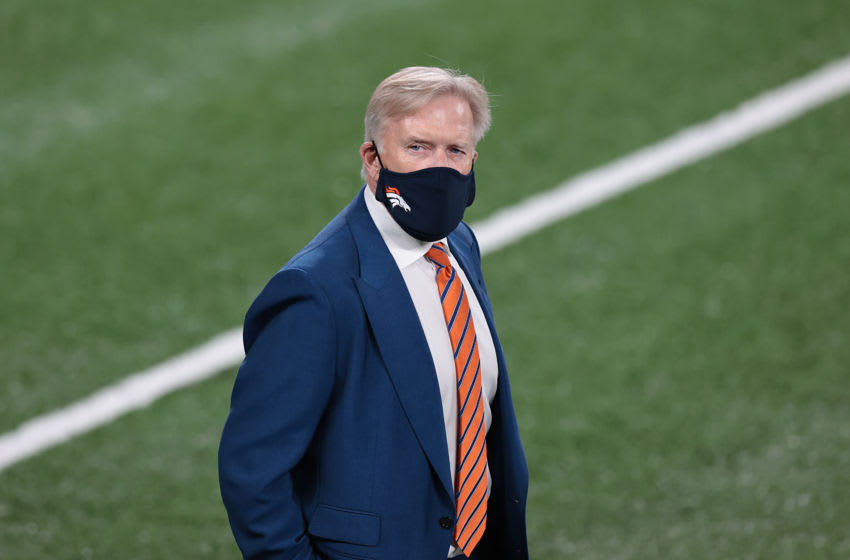Oct 1, 2020; East Rutherford, New Jersey, USA; Denver Broncos general manager John Elway before the game against the New York Jet at MetLife Stadium. Mandatory Credit: Vincent Carchietta-USA TODAY Sports