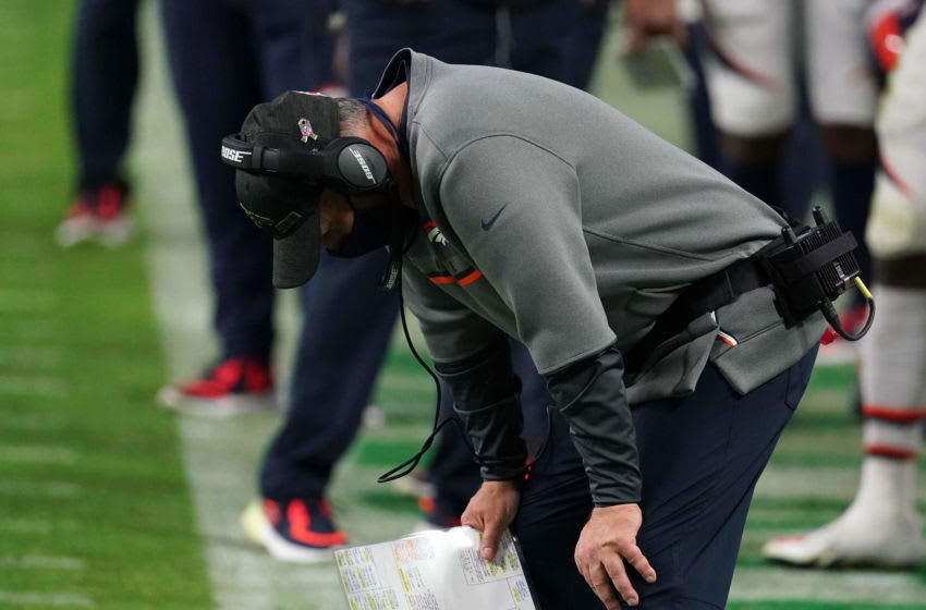 Nov 15, 2020; Paradise, Nevada, USA; Denver Broncos head coach Vic Fangio reacts in the second half against the Las Vegas Raiders at Allegiant Stadium. The Raiders defeated the Broncos 37-12. Mandatory Credit: Kirby Lee-USA TODAY Sports