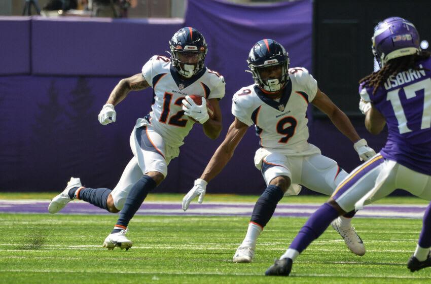 Denver Broncos wide receiver Trinity Benson, Kendall Hinton - Jerry Jeudy injury. Mandatory Credit: Jeffrey Becker-USA TODAY Sports
