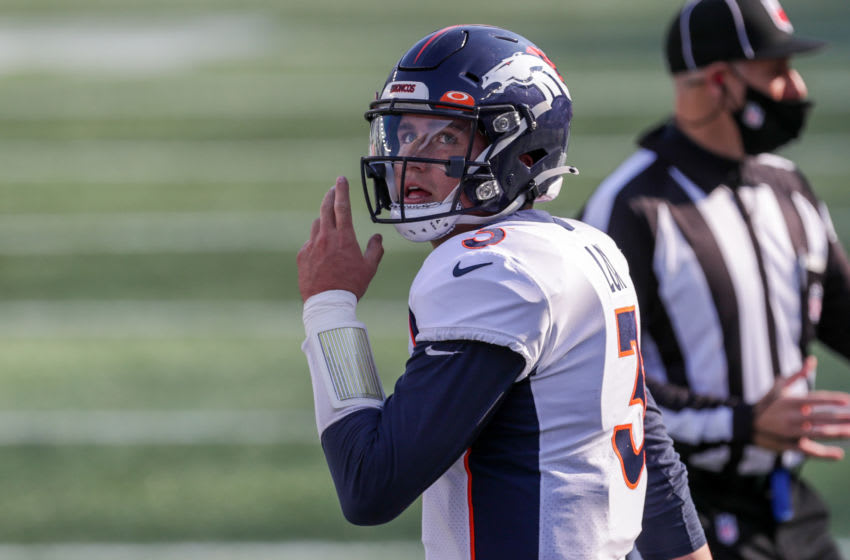 Oct 18, 2020; Foxborough, Massachusetts, USA; Denver Broncos quarterback Drew Lock (3) reacts during the second half against the New England Patriots at Gillette Stadium. Mandatory Credit: Paul Rutherford-USA TODAY Sports