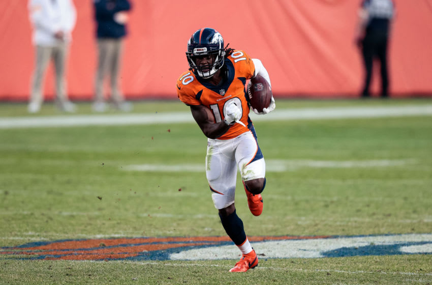 Nov 1, 2020; Denver, Colorado, USA; Denver Broncos wide receiver Jerry Jeudy (10) runs the ball on a reception in the fourth quarter against the Denver Broncos at Empower Field at Mile High. Mandatory Credit: Isaiah J. Downing-USA TODAY Sports