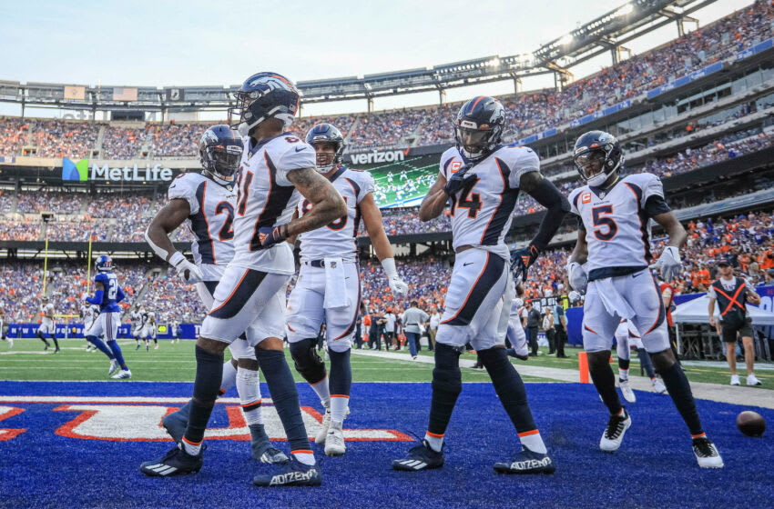 Sep 12, 2021; East Rutherford, New Jersey, USA; Denver Broncos wide receiver Tim Patrick (81) celebrates his touchdown with teammates during the first half against the New York Giants at MetLife Stadium. Mandatory Credit: Vincent Carchietta-USA TODAY Sports