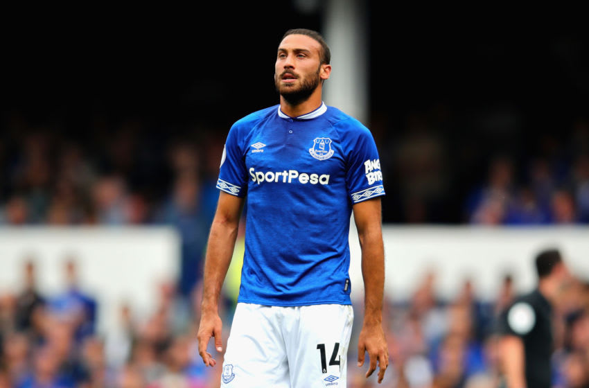 LIVERPOOL, ENGLAND - AUGUST 04: Cenk Tosun of Everton in action during the Pre-Season Friendly between Everton and Valencia at Goodison Park on August 4, 2018 in Liverpool, England. (Photo by Chris Brunskill/Fantasista/Getty Images)