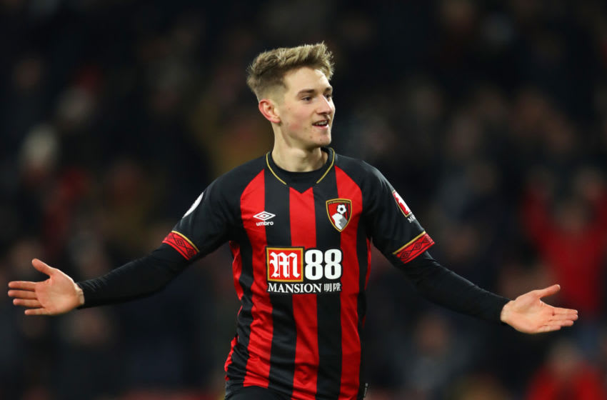 BOURNEMOUTH, ENGLAND - JANUARY 30: David Brooks of AFC Bournemouth celebrates after scoring his team's second goal during the Premier League match between AFC Bournemouth and Chelsea FC at Vitality Stadium on January 29, 2019 in Bournemouth, United Kingdom. (Photo by Warren Little/Getty Images)
