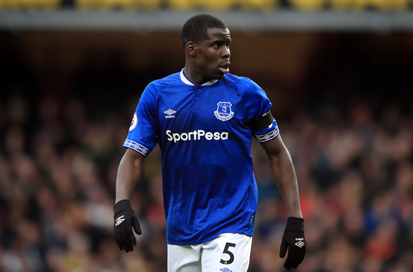 WATFORD, ENGLAND - FEBRUARY 09: Kurt Zouma of Everton during the Premier League match between Watford FC and Everton FC at Vicarage Road on February 9, 2019 in Watford, United Kingdom. (Photo by Marc Atkins/Getty Images)