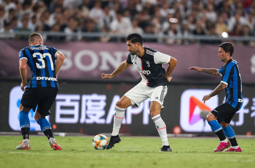 NANJING, CHINA - JULY 24: Emre Can of Juventus in aaction during the International Champions Cup match between Juventus and FC Internazionale at the Nanjing Olympic Center Stadium on July 24, 2019 in Nanjing, China. (Photo by Yifan Ding/Getty Images)