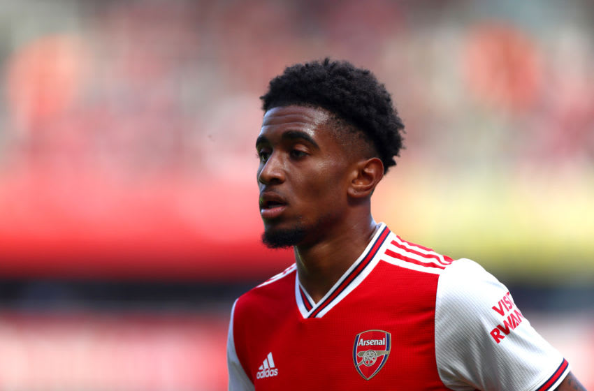 LONDON, ENGLAND - AUGUST 17: Reiss Nelson of Arsenal during the Premier League match between Arsenal FC and Burnley FC at Emirates Stadium on August 17, 2019 in London, United Kingdom. (Photo by Chloe Knott - Danehouse/Getty Images)
