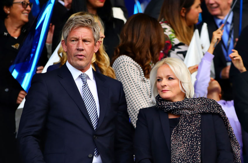 LIVERPOOL, ENGLAND - AUGUST 17: Everton Director of Football Marcel Brands (L) and Everton CEO Denise Barrett-Baxendale look on during the Premier League match between Everton FC and Watford FC at Goodison Park on August 17, 2019 in Liverpool, United Kingdom. (Photo by Chris Brunskill/Fantasista/Getty Images)