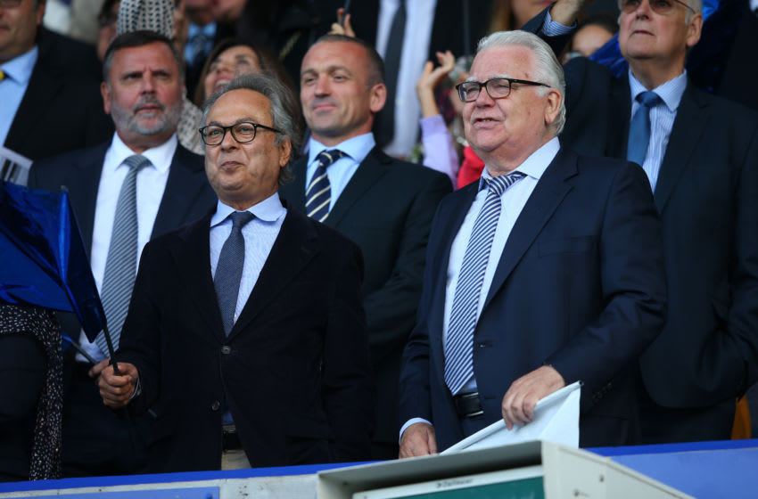 LIVERPOOL, ENGLAND - AUGUST 17: Farhad Moshiri the owner of Everton FC and Bill Kenwright the chairman of Everton look on prior to the Premier League match between Everton FC and Watford FC at Goodison Park on August 17, 2019 in Liverpool, United Kingdom. (Photo by Alex Livesey/Getty Images)