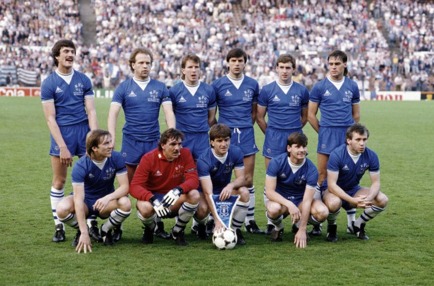 ROTTERDAM, HOLLAND - MAY 15: The Everton team group pictured prior to the start of the Everton v Rapid Vienna UEFA European Cup Winners Cup Final on the 15th May 1985, in Rotterdam, Netherlands, Back row, left to right, Derek Mountfield, Andy Gray, Trevor Steven, Graeme Sharp, Kevin Sheedy & Pat Van Den Hauwe, Front Row, Gary Stevens, Neville Southall, Kevin Ratcliffe, Paul Bracewell & Peter Reid (Photo by David Cannon/Allsport/Getty Images/Hulton Archive)