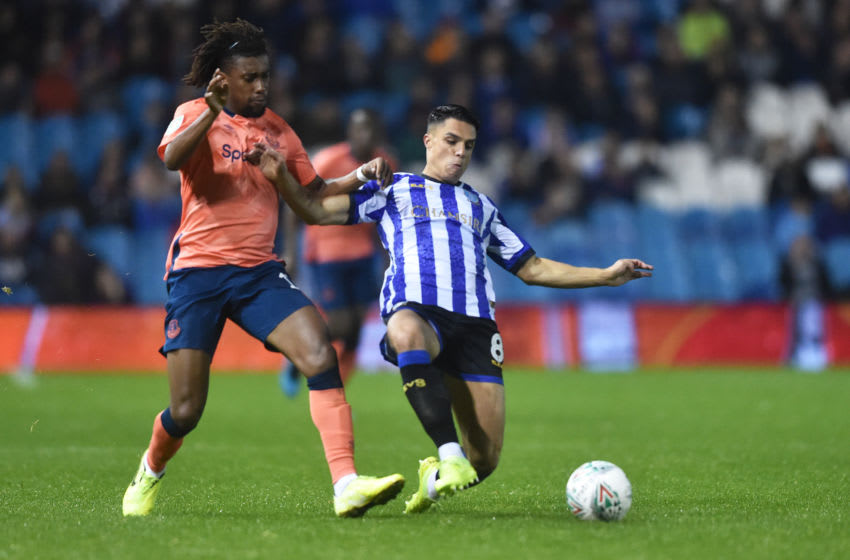 SHEFFIELD, ENGLAND - SEPTEMBER 24: Joey Pelupessy of Sheffield Wednesday and Alex Iwobi of Everton in action during the Carabao Cup Third Round match between Sheffield Wednesday and Everton at Hillsborough on September 24, 2019 in Sheffield, England. (Photo by Nathan Stirk/Getty Images)