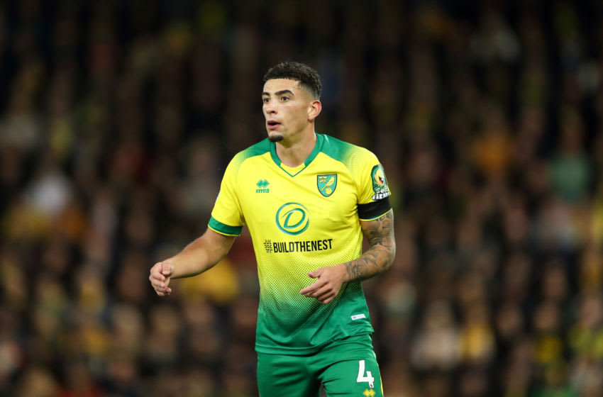 NORWICH, ENGLAND - OCTOBER 27: Ben Godfrey of Norwich City during the Premier League match between Norwich City and Manchester United at Carrow Road on October 27, 2019 in Norwich, United Kingdom. (Photo by James Williamson - AMA/Getty Images)