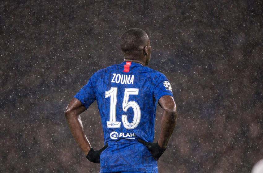 LONDON, ENGLAND - DECEMBER 10: Kurt Zouma of Chelsea FC looks on during the UEFA Champions League group H match between Chelsea FC and Lille OSC at Stamford Bridge on December 10, 2019 in London, United Kingdom. (Photo by Sebastian Frej/MB Media/Getty Images)