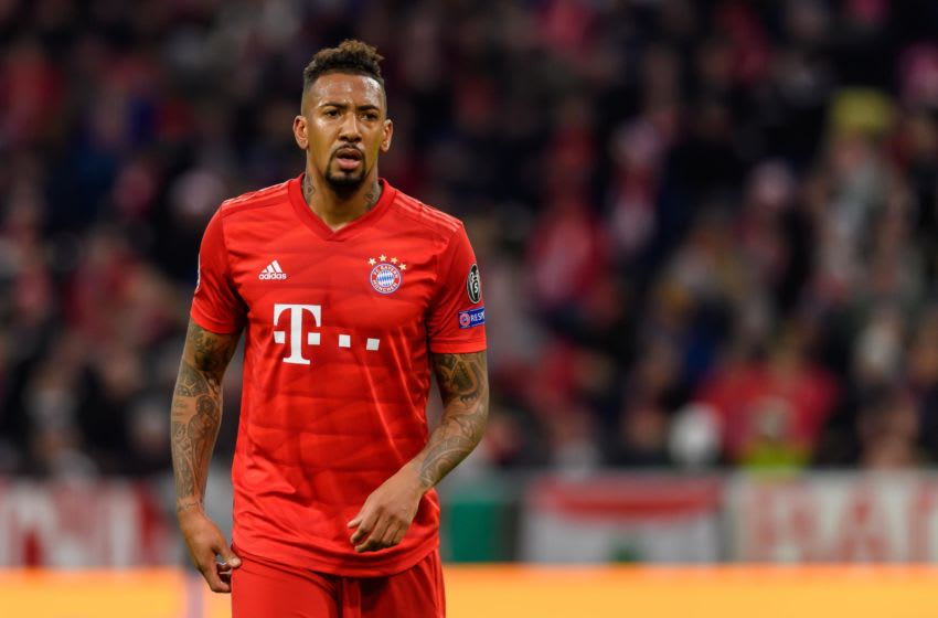 MUNICH, GERMANY - DECEMBER 11: (BILD ZEITUNG OUT) Jerome Boateng of FC Bayen Muenchen looks on during the UEFA Champions League group B match between Bayern Muenchen and Tottenham Hotspur at Allianz Arena on December 11, 2019 in Munich, Germany. (Photo by TF-Images/Getty Images)