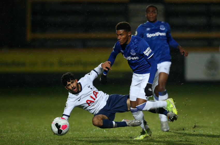 SOUTHPORT, ENGLAND - NOVEMBER 22: Dilan Markanday of Tottenham Hotspur battles with Nathangelo Markelo of Everton during the Premier League 2 match between Everton and Tottenham Hotspur at Pure Stadium on November 22, 2019 in Southport, England. (Photo by Jan Kruger/Getty Images)