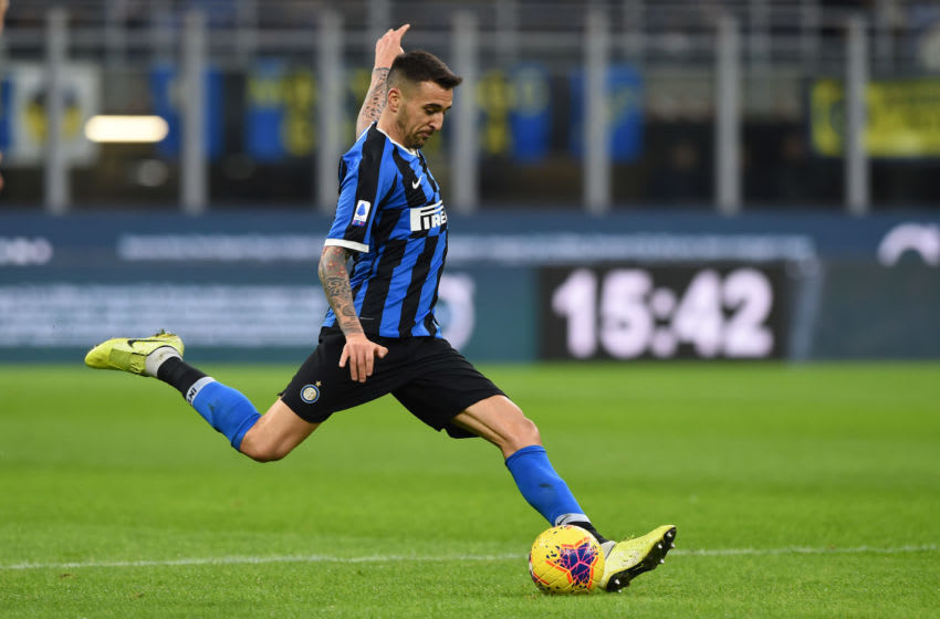 MILAN, ITALY - DECEMBER 21: Matias Vecino of FC Internazionale during the Serie A match between FC Internazionale and Genoa CFC at Stadio Giuseppe Meazza on December 21, 2019 in Milan, Italy. (Photo by Chris Ricco/Getty Images)