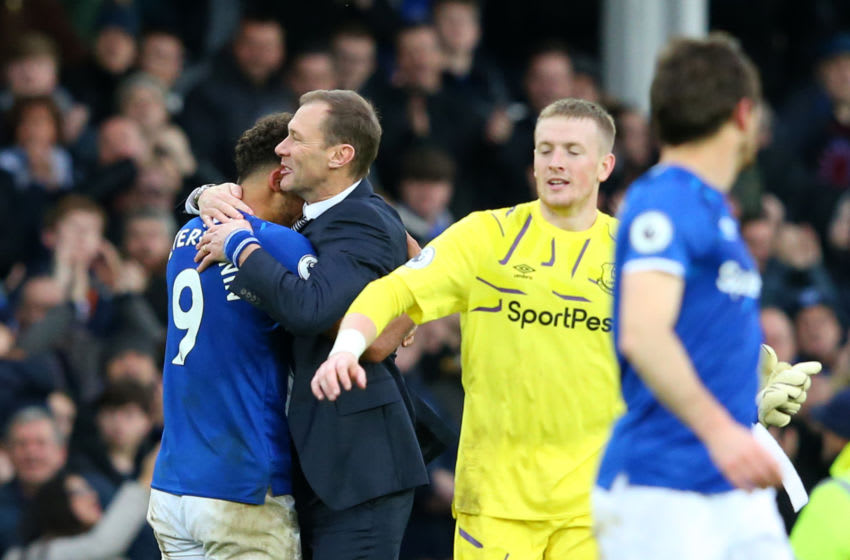 LIVERPOOL, ENGLAND - DECEMBER 07: Interim Everton Manager, Duncan Ferguson celebrates victory with Dominic Calvert-Lewin of Everton following the Premier League match between Everton FC and Chelsea FC at Goodison Park on December 07, 2019 in Liverpool, United Kingdom. (Photo by Alex Livesey/Getty Images)