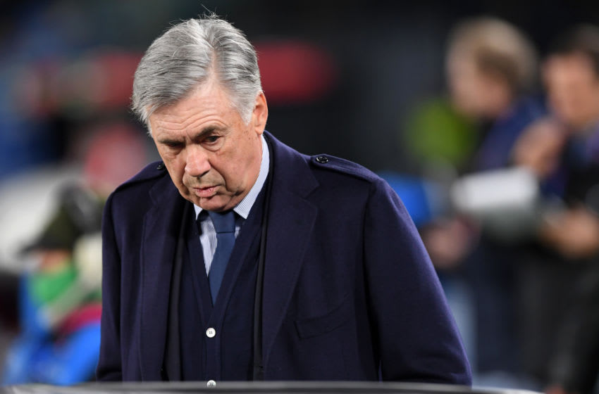 NAPLES, ITALY - DECEMBER 10: Carlo Ancelotti SSC Napoli coach before the UEFA Champions League group E match between SSC Napoli and KRC Genk at Stadio San Paolo on December 10, 2019 in Naples, Italy. (Photo by Francesco Pecoraro/Getty Images)