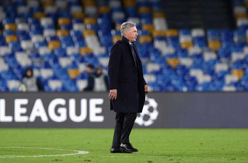 NAPLES, ITALY - DECEMBER 10: Carlo Ancelotti SSC Napoli coach on his way to the dressing room after the UEFA Champions League group E match between SSC Napoli and KRC Genk at Stadio San Paolo on December 10, 2019 in Naples, Italy. (Photo by Francesco Pecoraro/Getty Images)