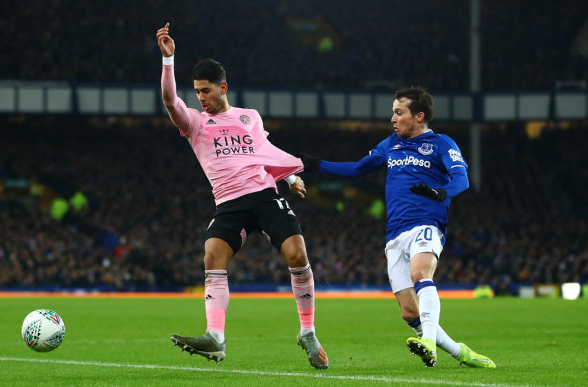 LIVERPOOL, ENGLAND - DECEMBER 18: Bernard of Everton in action with Ayoze Perez of Leicester City during the Carabao Cup Quarter Final match between Everton FC and Leicester FC at Goodison Park on December 18, 2019 in Liverpool, England. (Photo by Chris Brunskill/Fantasista/Getty Images)