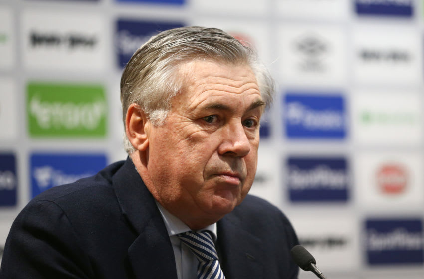 LIVERPOOL, ENGLAND - DECEMBER 23: Everton unveil new manager Carlo Ancelotti at Goodison Park on December 23, 2019 in Liverpool, England. (Photo by Jan Kruger/Getty Images)