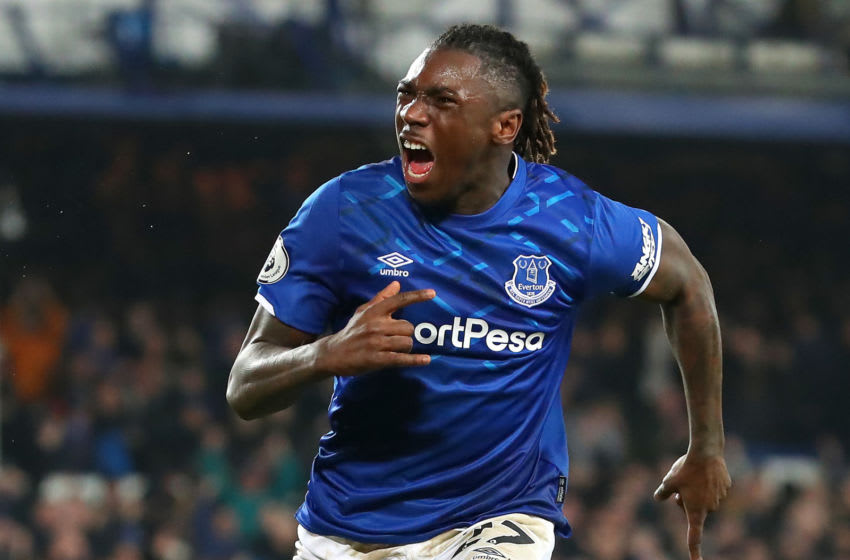LIVERPOOL, ENGLAND - JANUARY 21: Moise Kean of Everton celebrates after scoring his team's first goal during the Premier League match between Everton FC and Newcastle United at Goodison Park on January 21, 2020 in Liverpool, United Kingdom. (Photo by Alex Livesey/Getty Images)