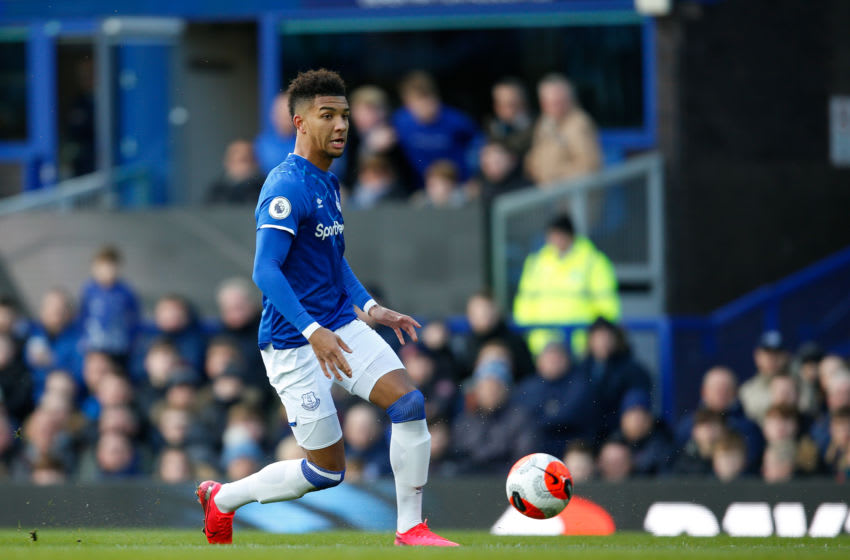 LIVERPOOL, ENGLAND - MARCH 01: Mason Holgate of Everton FC during the Premier League match between Everton FC and Manchester United at Goodison Park on March 1, 2020 in Liverpool, United Kingdom. (Photo by Ben Early - AMA/Getty Images)
