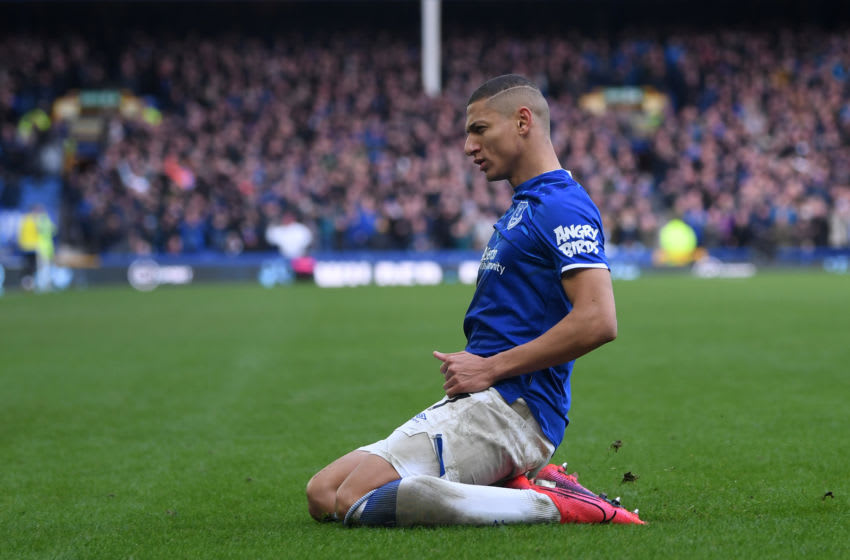 LIVERPOOL, ENGLAND - FEBRUARY 08: Richarlison of Everton celebrates after scoring his team's second goal during the Premier League match between Everton FC and Crystal Palace at Goodison Park on February 08, 2020 in Liverpool, United Kingdom. (Photo by Michael Regan/Getty Images)